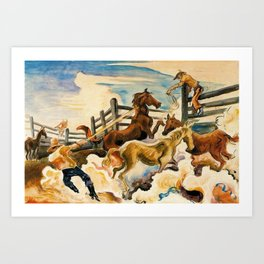 Classical Masterpiece by 'Lassoing Horses' Thomas Hart Benton Art Print