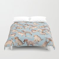 puppies Duvet Covers featuring Too Many Puppies by micklyn