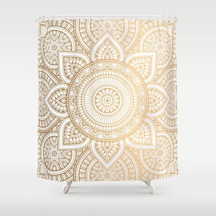 Gold Mandala Pattern Illustration With White Shimmer Shower Curtain ...