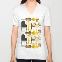 mortal instruments V-neck T-shirts featuring Jazz instruments by Ana Linea