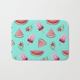 Watermelon ice cream and flowers Bath Mat