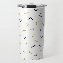 Black and gold squiggly lines pattern Travel Mug