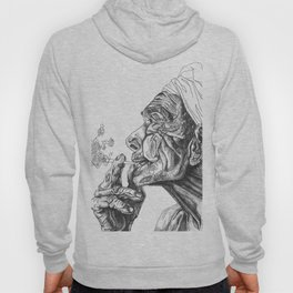 Geometric Graphic Black and White Smoker Drawing Hoody