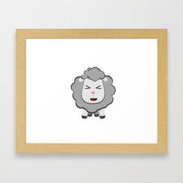 Happy Kawaii Sheep Framed Art Print
