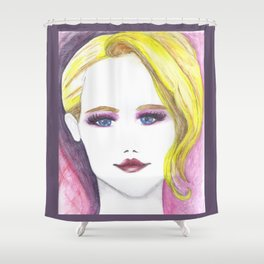 Fashion Illustration Portrait  Shower Curtain