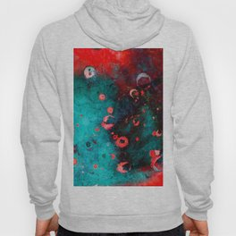 Red Turquoise Textured Abstract Hoody