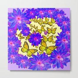 Amethyst Purple Flowers Butterfly Floral  Art Metal Print