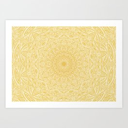 Most Detailed Mandala! Yellow Golden Color Intricate Detail Ethnic Mandalas Zentangle Maze Pattern Art Print