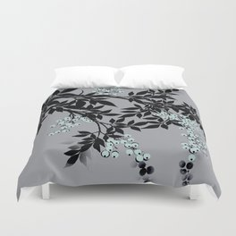 TREE BRANCHES BLACK AND GRAY WITH BLUE BERRIES Duvet Cover