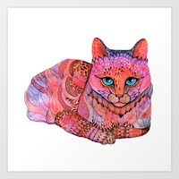 sunset Art Prints featuring SUNSET CAT by Ola Liola