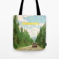 never stop exploring Tote Bags featuring NEVER STOP EXPLORING IV by Leslee Mitchell