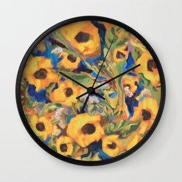 Wild Sunflowers Pattern Wall Clock