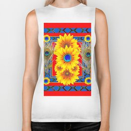 RED-BLUE PEACOCK JEWELED SUNFLOWERS DECO ABSTRACT Biker Tank
