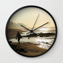 Sunset Beach Walk Wall Clock