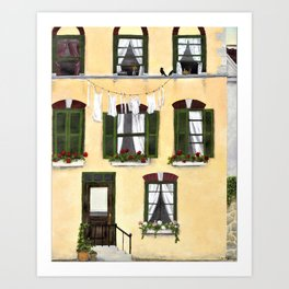 European Apartment, Clothes line, Green Shutter, Birds and Berry Studio Art Print
