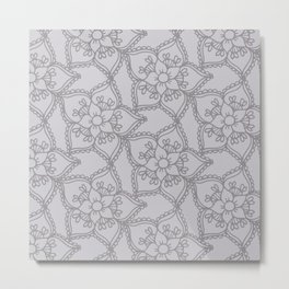 Silver gray lacey floral 2 Metal Print