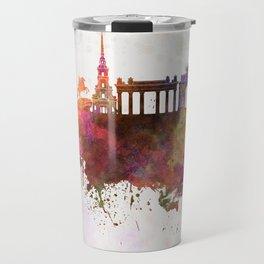 Saint Petersburg skyline in watercolor background Travel Mug