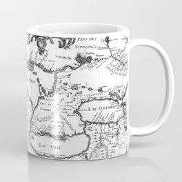 Vintage Map of The Great Lakes (1755) BW Coffee Mug