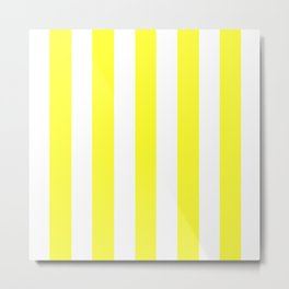 Electric yellow - solid color - white vertical lines pattern Metal Print