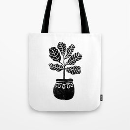 Fiddle Fig linocut house plant lino print black and white minimal art for office decor Tote Bag