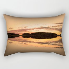 Beautiful sunset - glowing orange - forest silhouette and reflection Rectangular Pillow