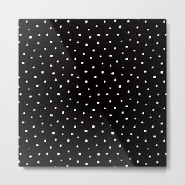 Minimal- Small white polka dots on black -Mix & Match with Simplicty of life Metal Print