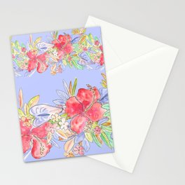 tropical hawaiian flowers periwinkle Stationery Cards