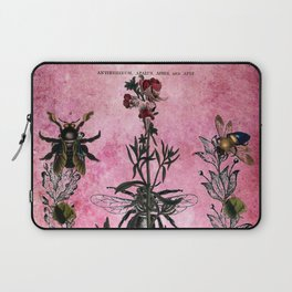 Vintage Bees with Toadflax Botanical illustration collage Laptop Sleeve
