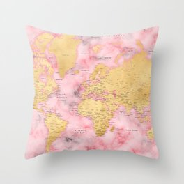 Gold and pink marble world map Throw Pillow
