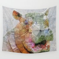 hippo Wall Tapestries featuring abstract hippo by Ancello