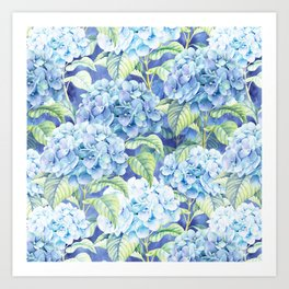 Botanical pink blue watercolor hortensia floral Kunstdrucke