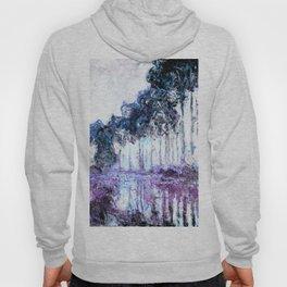 Monet : Poplars Lavender Periwinkle Deep Blue Hoody