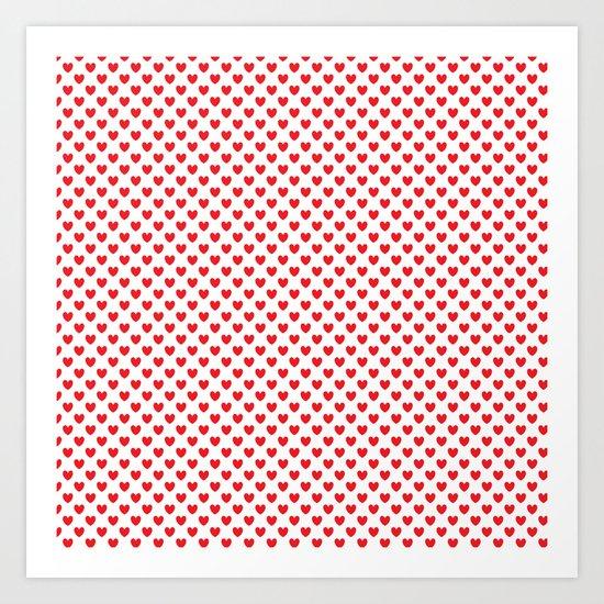 Red hearts Art Print