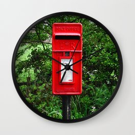 Red UK Letterbox Painting Wall Clock