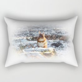 Cold squirrel in the snow Rectangular Pillow