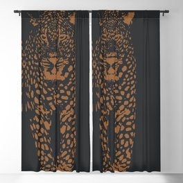 Midnight Leopard - Navy and Orange Leopard print By Kristen Baker Blackout Curtain