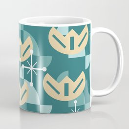 Atomic Era Funky Flowers (Turquoise) Coffee Mug
