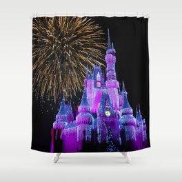 Disney Magic Kingdom Fireworks at Christmas - Cinderella Castle Shower Curtain