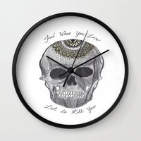 bukowski Wall Clocks featuring Bukowski Mandala Skull by Kami Sparks