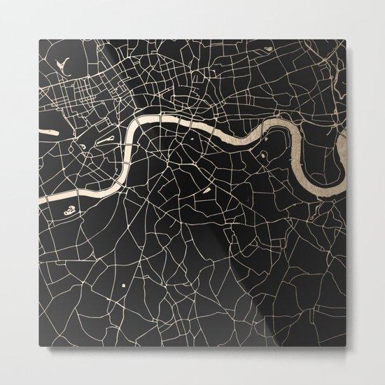 London Black on Gold Street Map II Metal Print