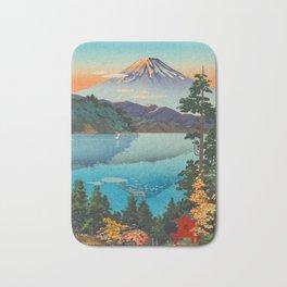 Tsuchiya Koitsu Vintage Japanese Woodblock Print Fall Autumn Mount Fuji Bath Mat