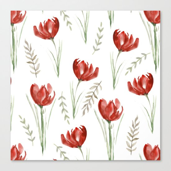 Red poppies. Watercolor Canvas Print
