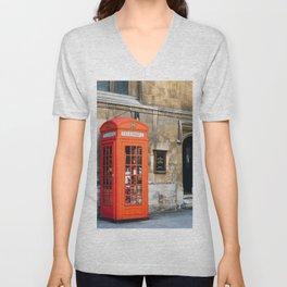 Red telephone box in London Unisex V-Neck