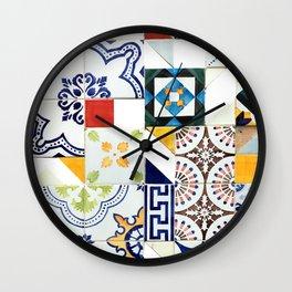 Azulejo collage Wall Clock