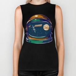 Astronaut Helmet - Satellite and the Moon Biker Tank