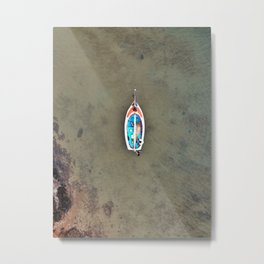 An aerial shot of a colourful sailing boat in Fiji Metal Print