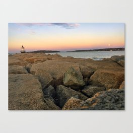 Wolf Moon Rising at Spring Point Ledge Lighthouse in South Portland, Maine Canvas Print