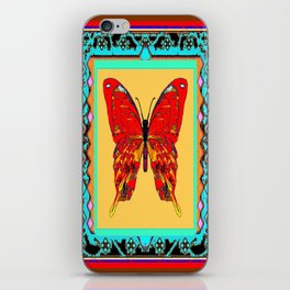 Southwestern Style Design With Red-gold Swallow Tail Butterfly iPhone Skin