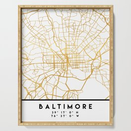 BALTIMORE MARYLAND CITY STREET MAP ART Serving Tray