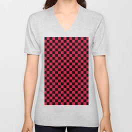 Black and Crimson Red Checkerboard Unisex V-Neck